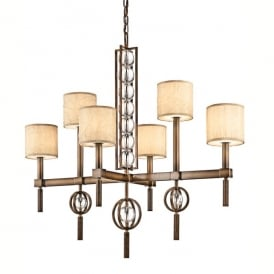 KL/CELESTIAL6 Kichler Celestial 6 Light Ceiling Chandelier In Cambridge Bronze Finish With Fabric And Glass Shade