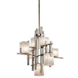 KL/CITY LIGHTS7A Kichler City Lights 7 Light Halogen Ceiling Chandelier In Classic Pewter Finish With Opal Glass Shades