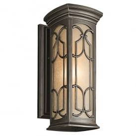 KL/FRANCEASI/M Franceasi Single Light Medium Wall Fitting in Old Bronze Finish (Outdoor)