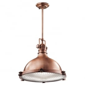 KL/HATTBAY/XL ACO Kichler Hatteras Bay Extra Large Single Light Ceiling Pendant In Antique Copper Finish