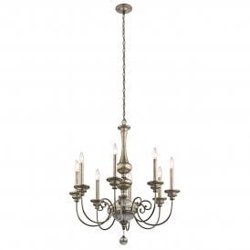 KL/ROSALIE8 Rosalie 8 Light Ceiling Chandelier in Sterling Gold Finish with Antique Mercury Glass
