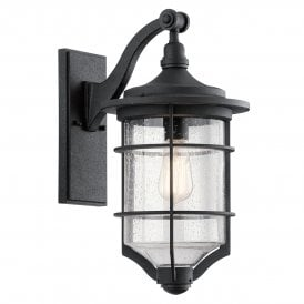 KL/ROYALMARIN2/M Kichler Royal Marine Outdoor Medium Single Light Wall Lantern in Distressed Black Finish with Seeded Glass