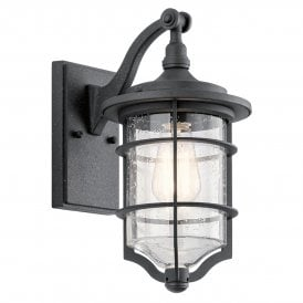KL/ROYALMARIN2/S Kichler Royal Marine Outdoor Small Single Light Wall Lantern in Distressed Black Finish with Seeded Glass