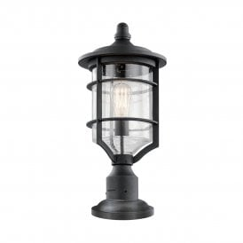 KL/ROYALMARIN3/M Kichler Royal Marine Outdoor Single Light Pedestal Lantern in Distressed Black Finish with Seeded Glass