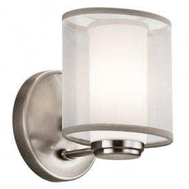KL/SALDANA1 Kichler Saldana Single Light Halogen Wall Fitting In Classic Pewter Finish With Opal Glass Shade