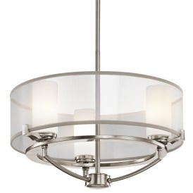 KL/SALDANA3 Kichler Saldana 3 Light Halogen Ceiling Fitting In Classic Pewter Finish With Opal Glass Shade