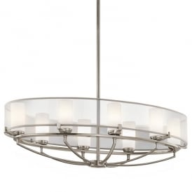 KL/SALDANA8 Kichler Saldana 8 Light Halogen Oval Ceiling Chandelier In Classic Pewter Finish With Opal Glass Shade