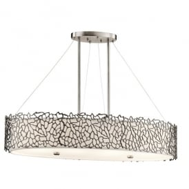 KL/SILCORAL/ISLE Kichler Silver Coral 4 Light Over Island Ceiling Fitting In Classic Pewter Finish