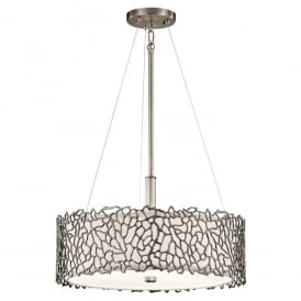 KL/SILCORAL/P/A Kichler Silver Coral 3 Light Duo-Mount Ceiling Pendant In Classic Pewter Finish