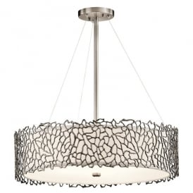 KL/SILCORAL/P/B Kichler Silver Coral 4 Light Ceiling Pendant In Classic Pewter Finish