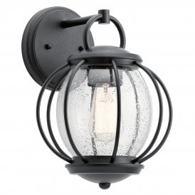 KL/VANDALIA2/S Kichler Vandalia Single Light Wall Fitting in Matt Black Finish with Seeded Glass