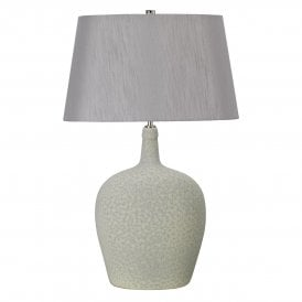 Lambeth Ceramic Single Light Table Lamp in Sage Green and Silver Complete with Tapered Shade