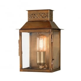 LAMBETH PALACE Lambeth Palace Single Light Solid Brass Outdoor Wall Lantern in Antique brass