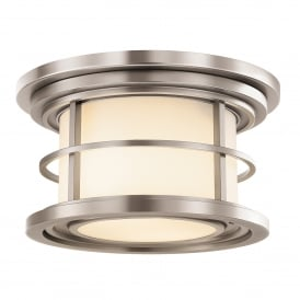 Lighthouse Outdoor 2 Light Flush Ceiling Fitting in Brushed Steel Finish