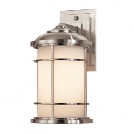 Lighthouse Outdoor Single Light Medium Wall Lantern in Brushed Steel Finish