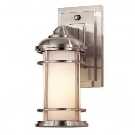 Lighthouse Outdoor Single Light Small Wall Lantern in Brushed Steel Finish