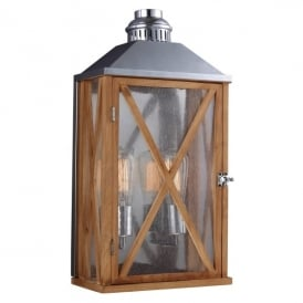 Lumiere 2 Light Medium Wall Lantern in Natural Oak Finish (Outdoor)