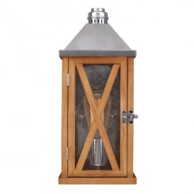 Lumiere Single Light Wall Lantern in Natural Oak Finish (Outdoor)