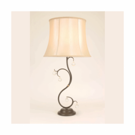 LUN/TL BR Lunetta Single light Table Lamp with Bronze Patina and Crystal Detail