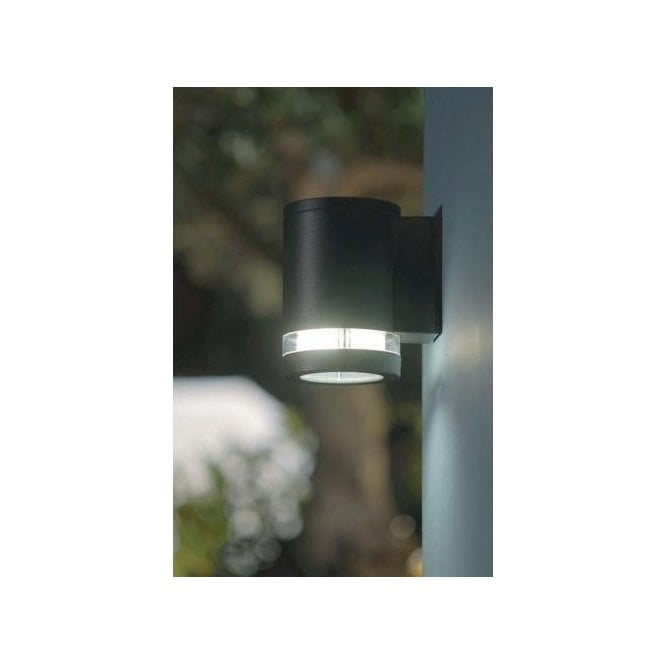 Low Energy External Wall Lights : Elstead Lighting Lutec Focus Low Energy Cylindrical External Wall Fitting in Graphite Grey ...