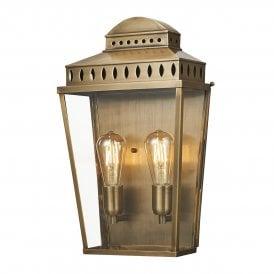 Mansion House 2 Light Solid Brass Outdoor Wall Lantern in an Antique Finish