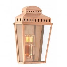 MANSION HOUSE CP Mansion House Single Light Solid Brass Outdoor Wall Lantern in Polished Copper Finish