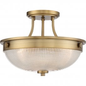 Mantle 2 Light Semi Flush Ceiling Fitting in Weathered Brass Finish with Glass Shade