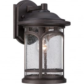 Marblehead Coastal Single Light Medium Wall Lantern in Palladian Bronze Finish with Seeded Glass