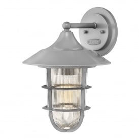 Marina Outdoor Single Light Medium Wall Fitting in Hematite Finish with Ribbed Glass