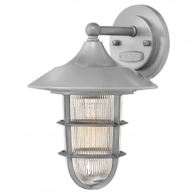 Marina Outdoor Single Light Small Wall Fitting in Hematite Finish with Ribbed Glass