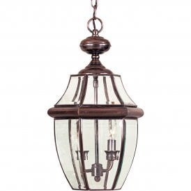 Newbury 2 Light Large Outdoor Ceiling Pendant Made from Solid Brass in Aged Copper Finish