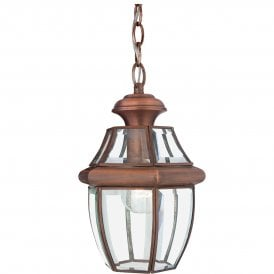 Newbury Single Light Medium Outdoor Ceiling Pendant Made from Solid Brass in Aged Copper Finish