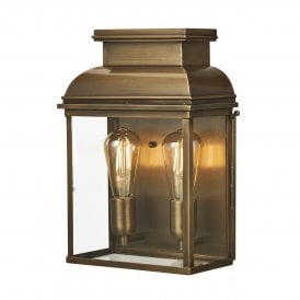 Old Bailey 2 Light Solid Brass Outdoor Wall Fitting in Antique Brass Finish
