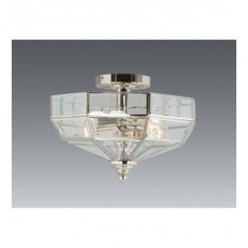 OLD PARK SF PN Old Park 2 Light Semi-flush Fitting with Polished Nickel Finish