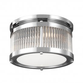 Paulson 3 LED Small Flush Ceiling Fitting in Polished Chrome Finish with Glass