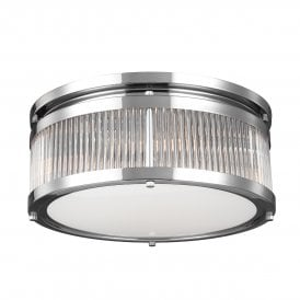 Paulson 4 LED Medium Flush Ceiling Fitting in Polished Chrome Finish with Glass