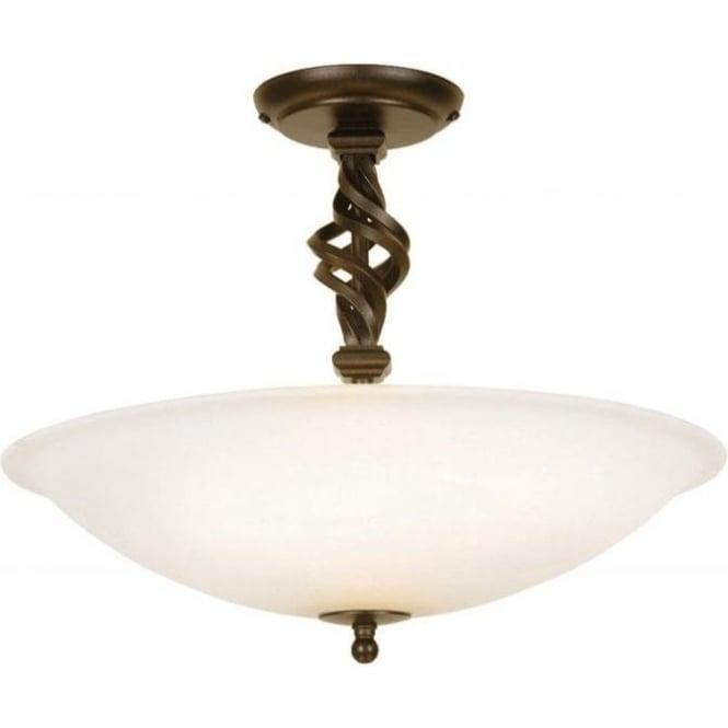Elstead Lighting Pembroke 3 Light Single Stemmed Semi Flush Ceiling Fitting I