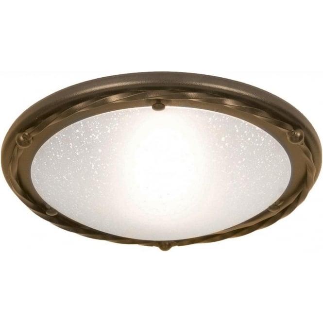 Elstead Lighting Pembroke Single Light Flush Ceiling Fitting In A Black Gold