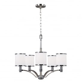 Prospect Park 5 Light Ceiling Chandelier in Satin Nickel Finish with Chrome Accents