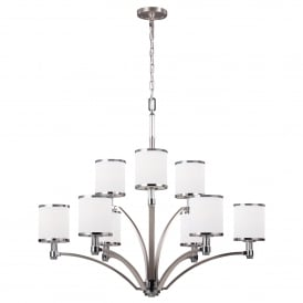 Prospect Park 9 Light Ceiling Chandelier in Satin Nickel Finish with Chrome Accents