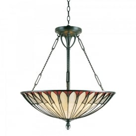 Quoizel Alahambre 4 Light Ceiling Pendant In Vintage Bronze Finish And Tiffany Glass Shade