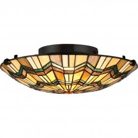 Quoizel Alcott 2 Light Flush Ceiling Fitting In Valiant Bronze Finish With Tiffany Glass Shade