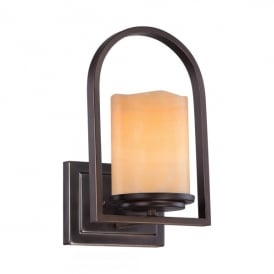 Quoizel Aldora Single Light Wall Fitting In Palladian Bronze Finish