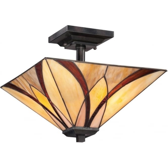 Quoizel Asheville 2 Light Semi Flush Ceiling Fitting In Valiant Bronze Finish And Tiffany Glass Shade