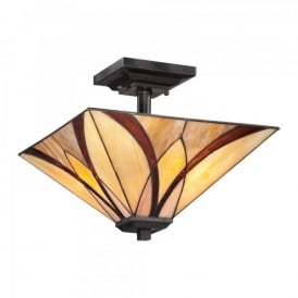 Quoizel Asheville 2 Light Semi Flush Ceiling Fitting In Valiant Bronze Finish And Tiffany Glass Shade