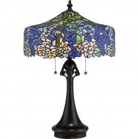 Quoizel Cobalt 3 Light Tiffany Table Lamp in Vintage Bronze Finish