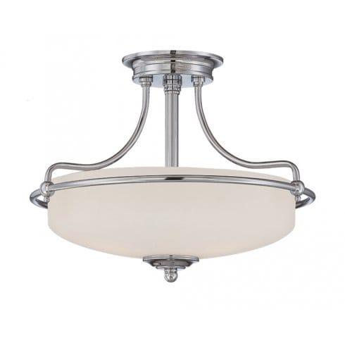 Elstead Lighting Quoizel Griffin 3 Light Semi Flush Ceiling Fitting In Polish