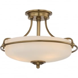 Quoizel Griffin 3 Light Semi-Flush Ceiling Fitting in Weathered Brass Finish