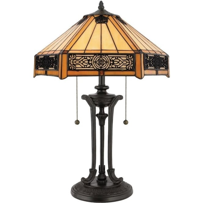 Elstead Lighting Quoizel Indus 2 Light Table Lamp In Vintage Bronze Finish And Tiffany Glass Shade