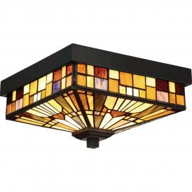 Quoizel Inglenook 2 Light Flush Ceiling Fitting in Valiant Bronze Finish